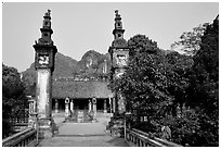 Hoa Lu, medieval site of the early kingdom of Vietnam. Ninh Binh,  Vietnam ( black and white)