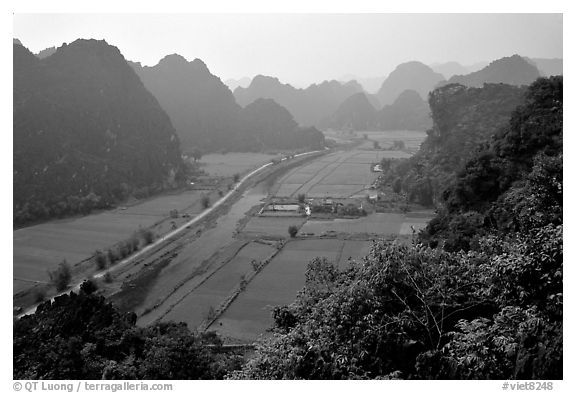 The Karstic landscape of Hoa Lu. Ninh Binh,  Vietnam (black and white)