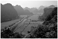 The Karstic landscape of Hoa Lu. Ninh Binh,  Vietnam ( black and white)