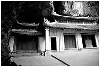 Troglodyte sanctuary near Tam Coc. Ninh Binh,  Vietnam ( black and white)