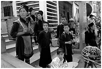 Hmong people at the market. The Hmong constitue the largest hill tribe (ethnic minority). Sapa, Vietnam ( black and white)