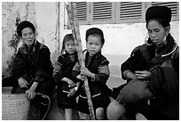 Hmong women kids with sugar cane. Sapa, Vietnam (black and white)