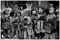 School kids in colorfull everyday dress. Bac Ha, Vietnam (black and white)