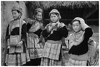 Young Flower Hmong  women. Bac Ha, Vietnam (black and white)