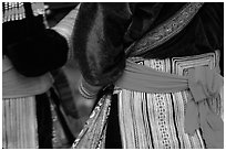 Detail of  Flower Hmong dress. Bac Ha, Vietnam (black and white)