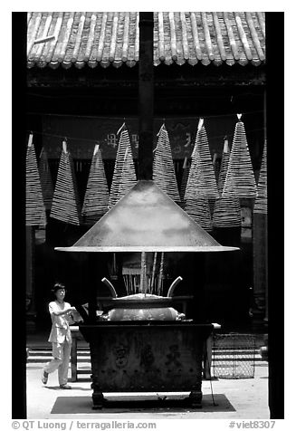 Ritual chimney and incense coils, Cholon. Cholon, District 5, Ho Chi Minh City, Vietnam (black and white)