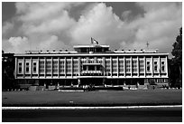 Reunification Palace, the former presidential palace of South Vietnam. Ho Chi Minh City, Vietnam ( black and white)