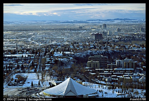 View from Calgary Tower in winter. Calgary, Alberta, Canada (color)