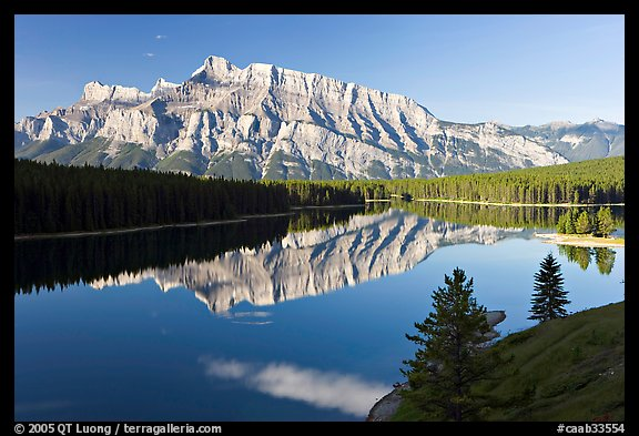 Mt Rundle and Two Jack Lake, early morning. Banff National Park, Canadian Rockies, Alberta, Canada (color)