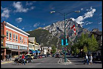Banff Avenue and Cascade Mountain, mid-morning. Banff National Park, Canadian Rockies, Alberta, Canada ( color)