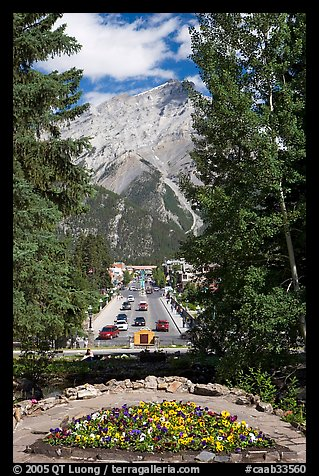Banff Avenue seen from Cascade Gardens, mid-day. Banff National Park, Canadian Rockies, Alberta, Canada (color)