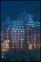 Banff Springs Hotel at dusk. Banff National Park, Canadian Rockies, Alberta, Canada ( color)