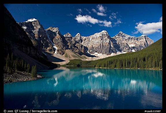 Moraine Lake reflecting the Wenkchemna Peaks, mid-morning. Banff National Park, Canadian Rockies, Alberta, Canada (color)