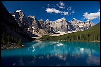Moraine Lake reflecting the Wenkchemna Peaks, mid-morning. Banff National Park, Canadian Rockies, Alberta, Canada ( color)