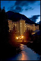 Chateau Lake Louise and stream at night. Banff National Park, Canadian Rockies, Alberta, Canada ( color)