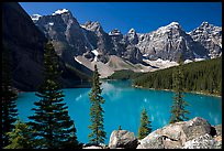 Wenkchemna Peaks above turquoise colored Moraine Lake , mid-morning. Banff National Park, Canadian Rockies, Alberta, Canada ( color)