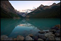 Boulders, Victoria Peak, and Lake Louise, sunrise. Banff National Park, Canadian Rockies, Alberta, Canada