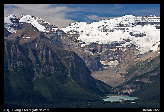 Distant view of Lake Louise and  Victoria Peak. Banff National Park, Canadian Rockies, Alberta, Canada (color)