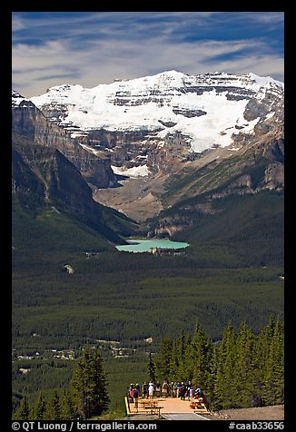 Observation platform, Lake Louise and  Victoria Peak. Banff National Park, Canadian Rockies, Alberta, Canada (color)