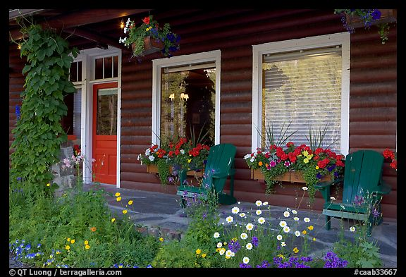 Porch of a cabin with flowers. Banff National Park, Canadian Rockies, Alberta, Canada