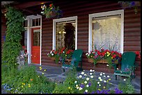 Porch of a cabin with flowers. Banff National Park, Canadian Rockies, Alberta, Canada ( color)