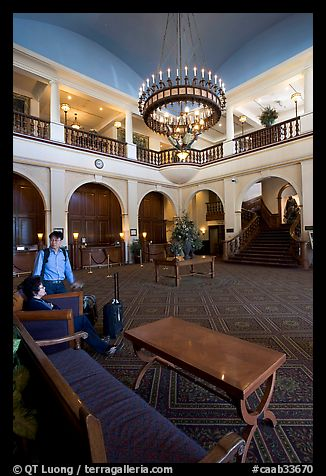 Main interior lobby of Chateau Lake Louise. Banff National Park, Canadian Rockies, Alberta, Canada (color)