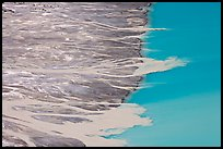 Streams depositing glacial sediments into Peyto Lake. Banff National Park, Canadian Rockies, Alberta, Canada (color)