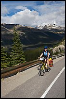 Woman cyclist, Icefieds Parkway. Jasper National Park, Canadian Rockies, Alberta, Canada ( color)