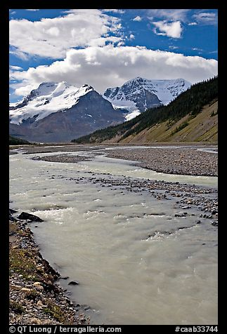 Wide Sunwapta River and Mt Athabasca, morning. Jasper National Park, Canadian Rockies, Alberta, Canada (color)