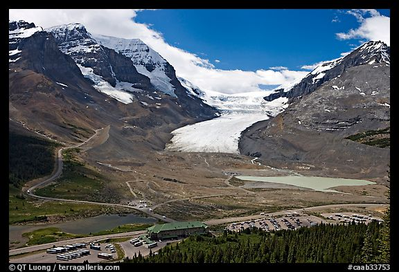 Icefields Center and Athabasca Glacier flowing from Columbia Icefields. Jasper National Park, Canadian Rockies, Alberta, Canada (color)