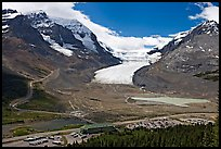 Icefields Center and Athabasca Glacier flowing from Columbia Icefields. Jasper National Park, Canadian Rockies, Alberta, Canada