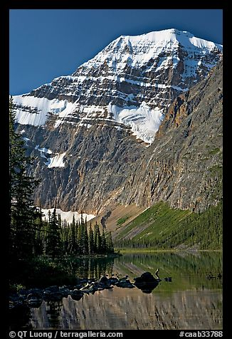 Steep face of Mt Edith Cavell raising above Cavell Lake. Jasper National Park, Canadian Rockies, Alberta, Canada (color)