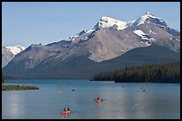Canoes on Maligne Lake, afternoon. Jasper National Park, Canadian Rockies, Alberta, Canada ( color)