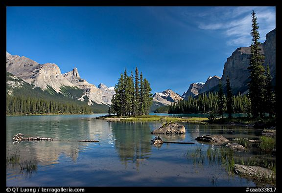 Spirit Island and Maligne Lake, afternoon. Jasper National Park, Canadian Rockies, Alberta, Canada (color)