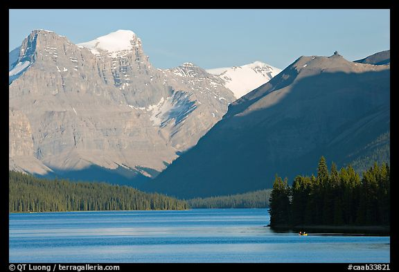 Maligne Lake and peaks, late afternoon. Jasper National Park, Canadian Rockies, Alberta, Canada (color)