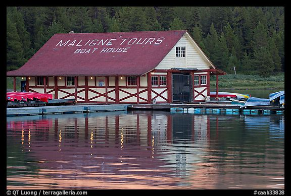 Maligne Lake Boathouse. Jasper National Park, Canadian Rockies, Alberta, Canada (color)