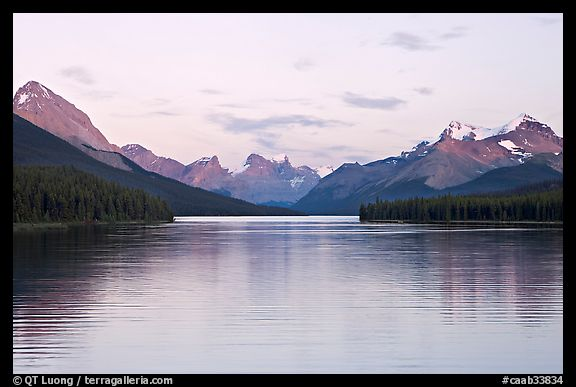 Maligne Lake, the largest in the Canadian Rockies, sunset. Jasper National Park, Canadian Rockies, Alberta, Canada (color)