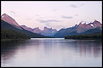 Maligne Lake, the largest in the Canadian Rockies, sunset. Jasper National Park, Canadian Rockies, Alberta, Canada ( color)