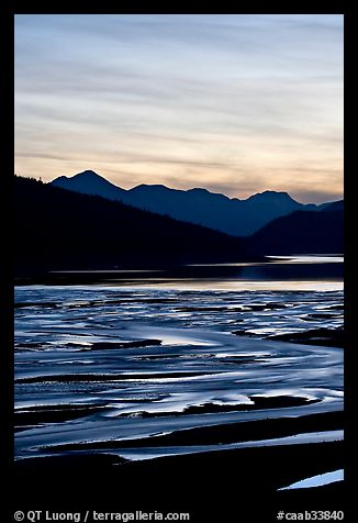 Braided channels and Medicine Lake, sunset. Jasper National Park, Canadian Rockies, Alberta, Canada (color)