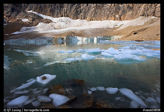 Icebergs, reflections, and Cavell Glacier. Jasper National Park, Canadian Rockies, Alberta, Canada