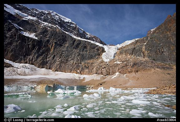 Cavell Pond and glaciers  at the base of Mt Edith Cavell, early morning. Jasper National Park, Canadian Rockies, Alberta, Canada (color)