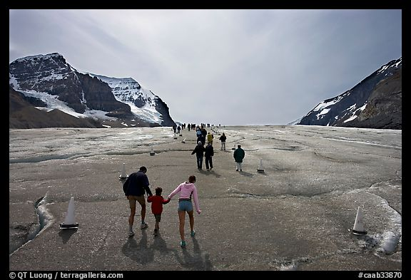 Tourists on Athabasca Glacier, Columbia Icefield. Jasper National Park, Canadian Rockies, Alberta, Canada (color)