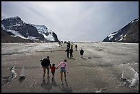 Tourists on Athabasca Glacier, Columbia Icefield. Jasper National Park, Canadian Rockies, Alberta, Canada ( color)