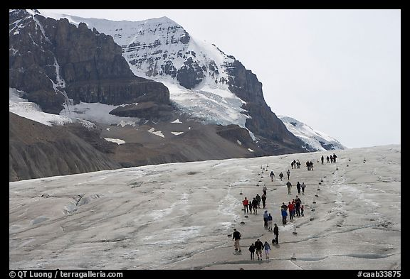 People amongst glacier and peaks, Columbia Icefield. Jasper National Park, Canadian Rockies, Alberta, Canada (color)