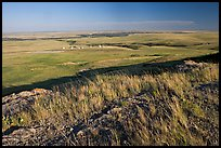 Plain seen from the top of the cliff, late afternoon, Head-Smashed-In Buffalo Jump. Alberta, Canada ( color)