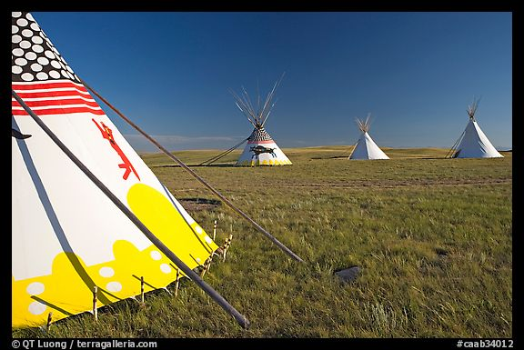 Indian Teepees,  Head-Smashed-In Buffalo Jump. Alberta, Canada (color)