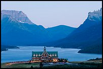 Prince of Wales hotel and upper Waterton Lake, dusk. Waterton Lakes National Park, Alberta, Canada