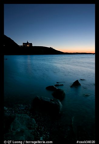 Waterton Lake and Prince of Wales hotel, dawn. Waterton Lakes National Park, Alberta, Canada (color)