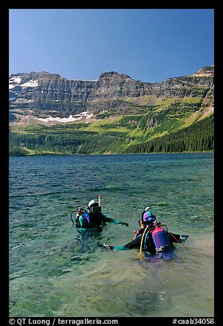 Scuba diving in Cameron Lake, a cold mountain lake. Waterton Lakes National Park, Alberta, Canada (color)