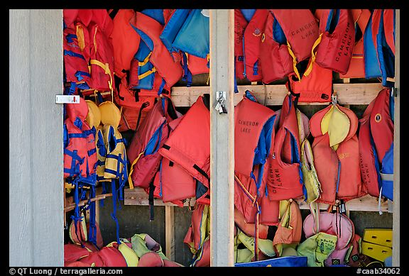 Lifejackets in Cameron Lake boathouse. Waterton Lakes National Park, Alberta, Canada (color)
